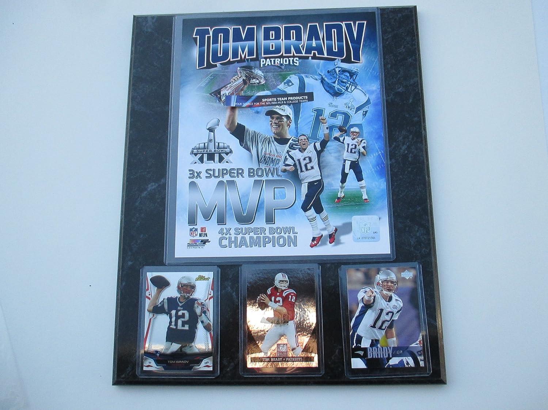 New England Patriots Tom Brady 3X Super Bowl MVP photo   3 cards mounted on  a 12