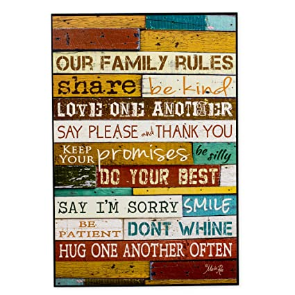 Nice Our Family Rules Colorful Distressed Wood 18 X 12 Wood Wall Art Sign Plaque