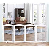 Spirich Extra Wide and Tall Dog gate for The House, Doorway, Stairs, Freestanding Foldable Wire Pet Gate for Dogs, 80…