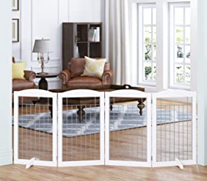 Spirich Extra Wide and Tall Dog gate for The House, Doorway, Stairs, Freestanding Foldable Wire Pet Gate for Dogs, 80-inch Wide,30 inches Tall, 4 Panels, White (4 Pannels)
