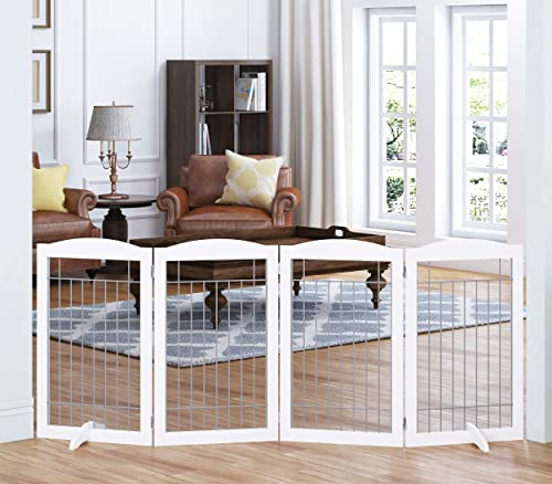 Spirich Extra Wide and Tall Dog gate for The House, Doorway, Stairs, Freestanding Foldable Wire Pet Gate for Dogs, 80-inch Wide,30 inches Tall, 4 Panels, White 4 Pannels