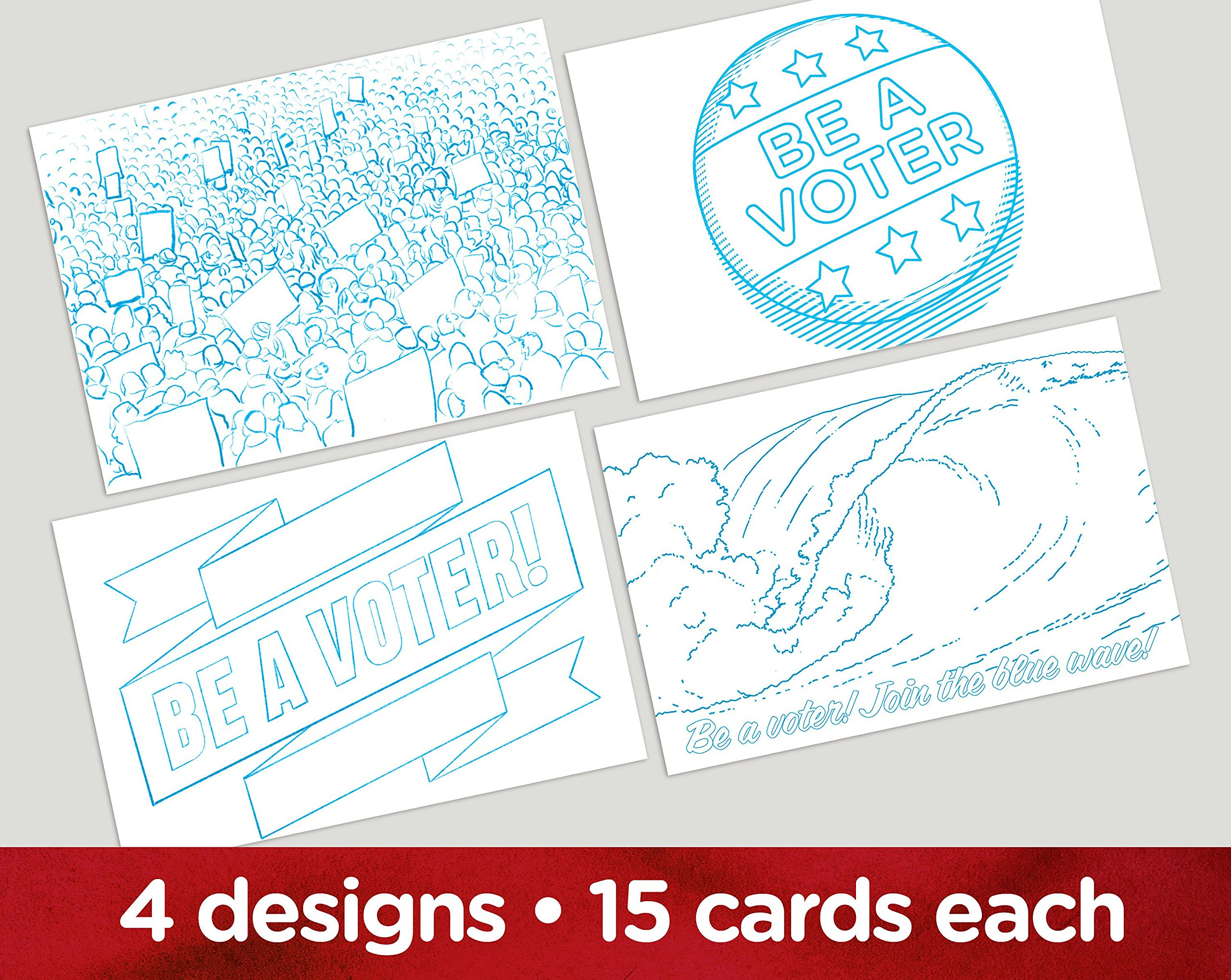 Coloring Book''Vote'' postcards. Four different images for getting out the vote and writing your reps. Set of 60.