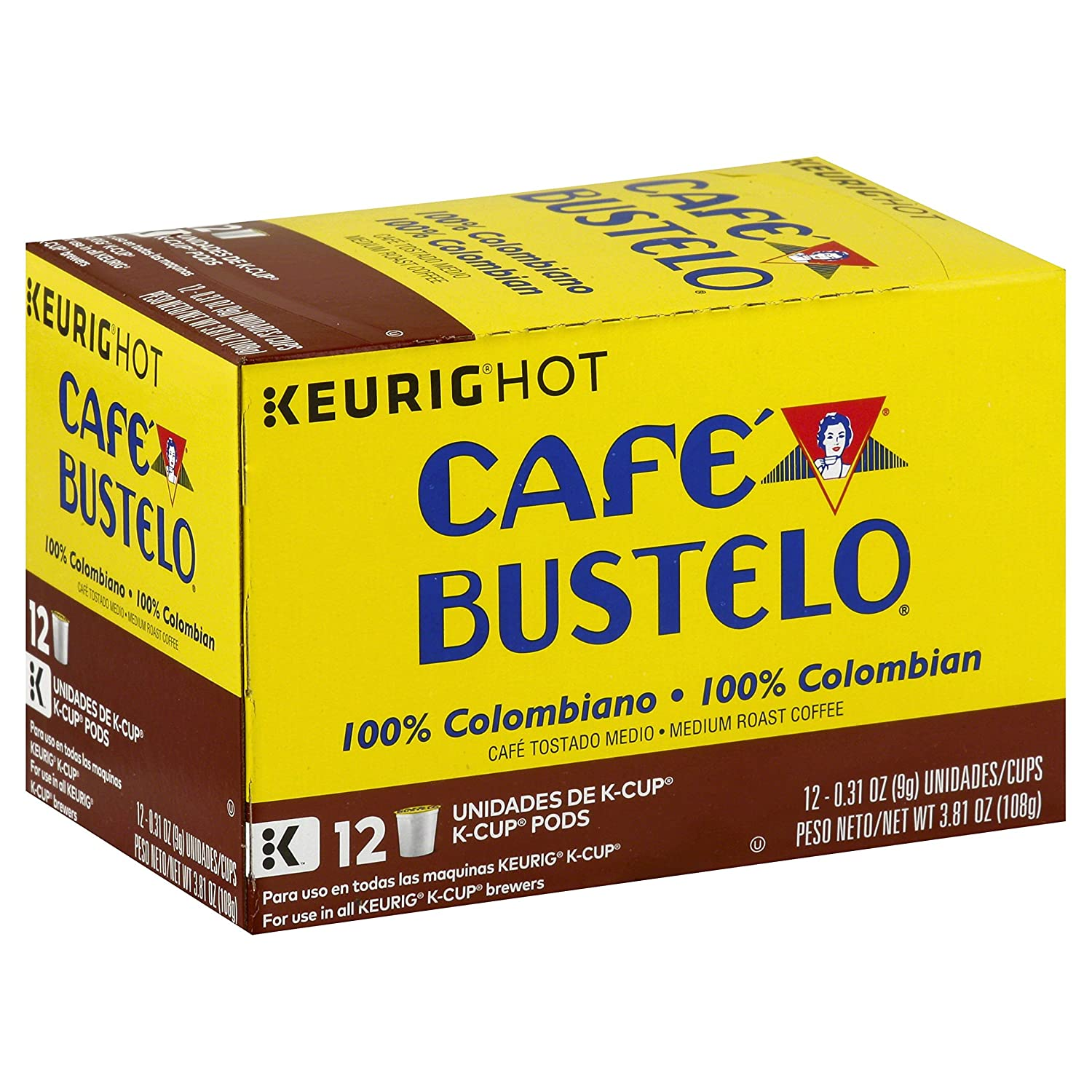 Cafe Bustelo 100% Colombian Medium Roast Coffee, 72 K Cups for Keurig Makers