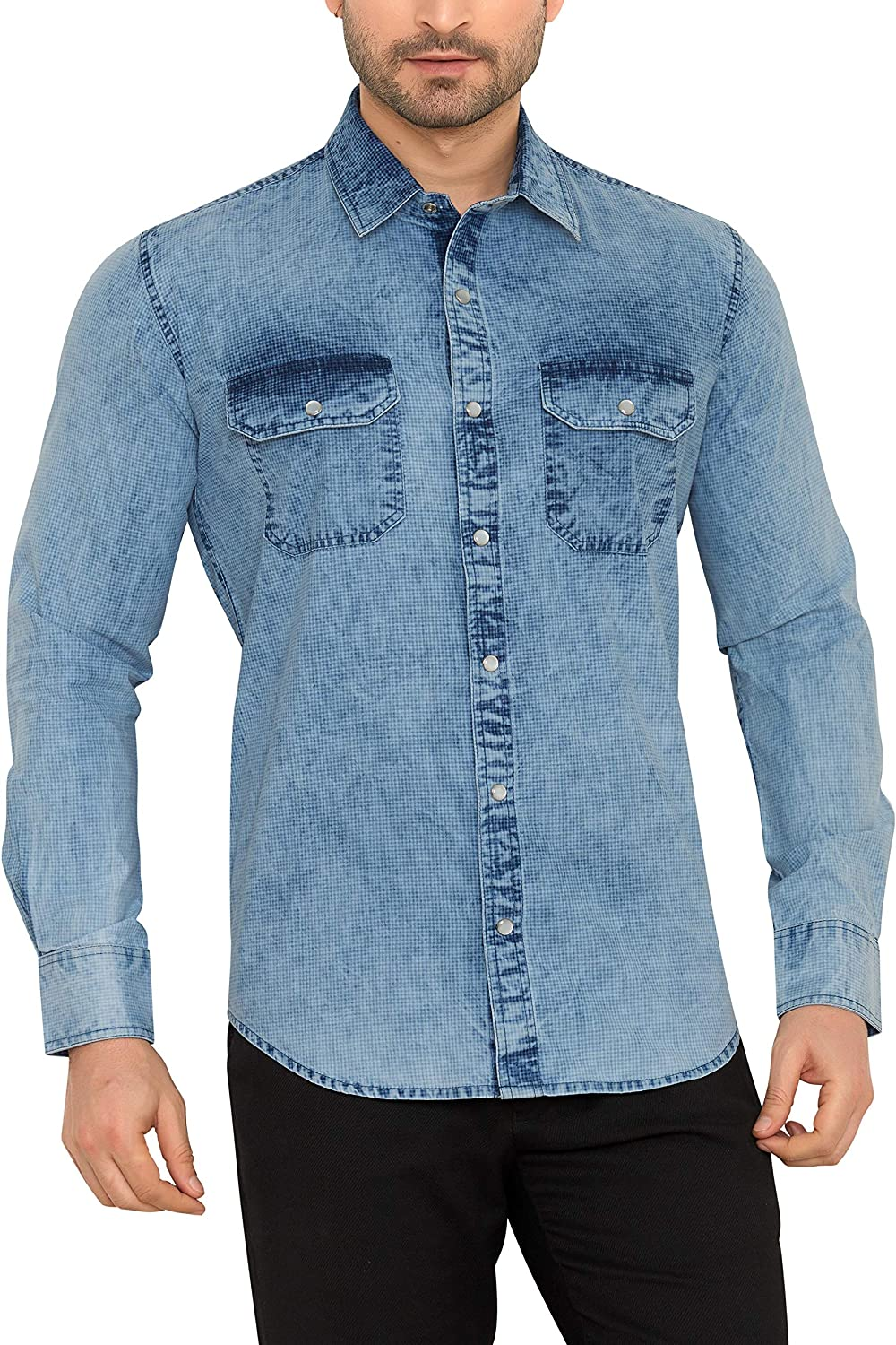 ed333210074 Mens Denim Shirt With Snap Buttons – EDGE Engineering and Consulting ...