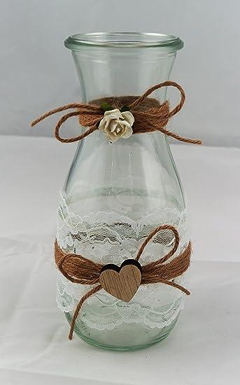 2 X Karaffe Windlicht Vase Hochzeit Tischdeko Herz Spitze