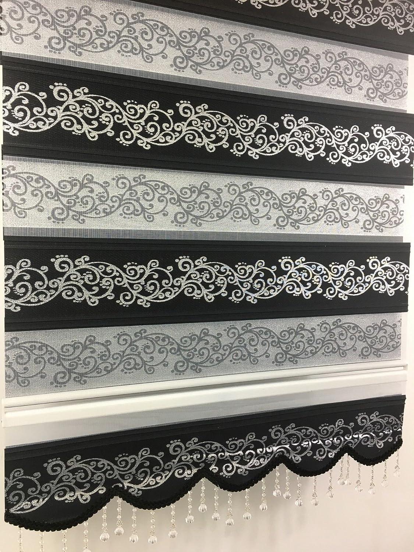 Duo Rollo Doppelrollo mit Alukassette schwarz silberranken, 200 cm x 200 cm mit breiter Beschwerung und Perlen Volant