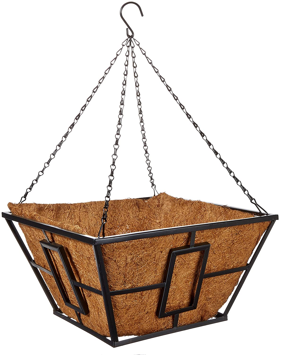 Panacea Products Corp-Import 87850 14 , Black, Square Contemporary Style Hanging Basket