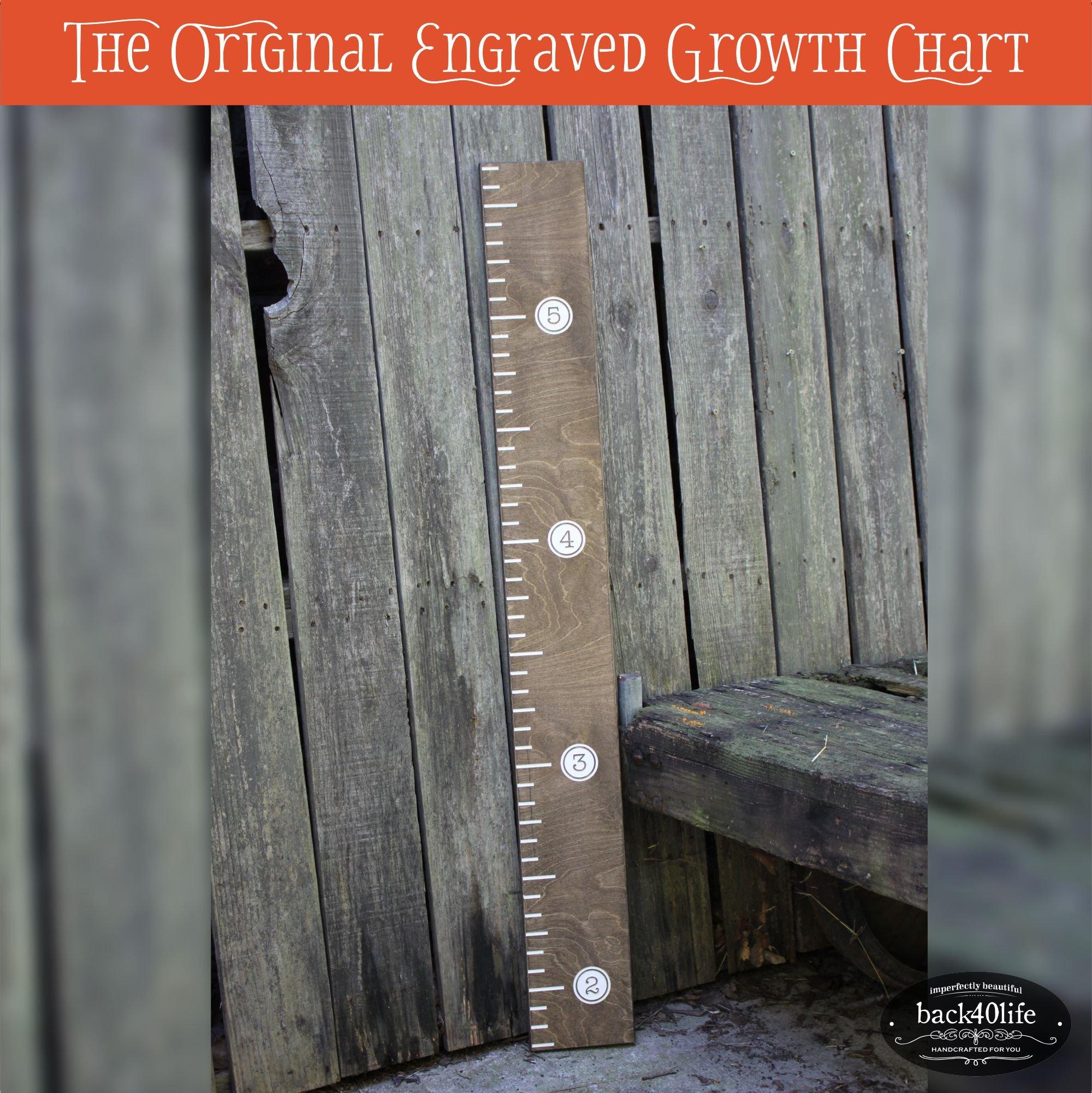 Back40Life 48'' Premium Engraved Wooden Growth Height Chart Ruler - The Typewriter (Dark Walnut + Antique White)