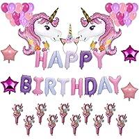 READY TO FIESTA Globos de Cumpleaños Unicornio Rosa [54 piezas] | Fiesta de Cumpleaños | Unicornios Gigantes + Mini Unicornios | Letreros Happy Birthday | Globos Látex Aperlados | Globos Estrella Metálicas | Diadema para pelo