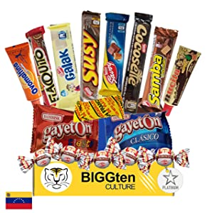 Venezuelan Sweet Snacks Gift Box – International Snack and Candy –Great Assortment of Foreign Treats, Wafer Cookies, Chocolates, Cocosette, Susy, Toronto, Nucita, Galak, Bocadillos, & more. (16 Count)