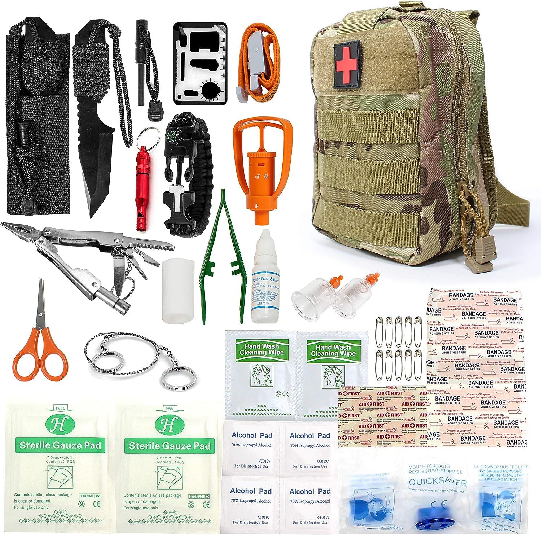 Bolsa de Primeros Auxilios Kit de Supervivencia de Emergencia Bolsa de Almacenamiento de medicamentos Liviana para Viajes en autom/óvil de Oficina en casa