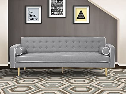 Superbe Armen Living LCKESOGRAY Kennedy Sofa In Grey Fabric And Oak Wood Finish
