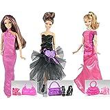 ADM 1020 - Moda de las famosas: Hollywood (Set de 3 vestidos con zapatos y bolsos, sin muñecas)