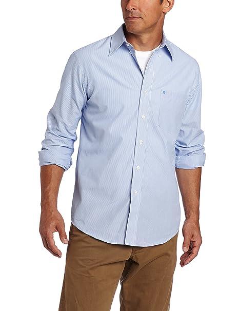 IZOD Men/'s Essential Slim Stripe Long Sleeve Shirt American Dream Blue//White NEW