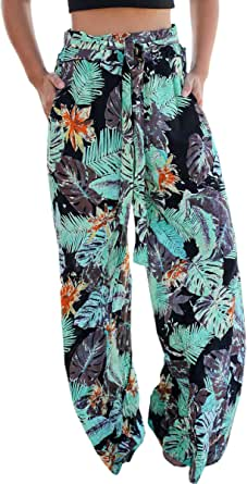 ECOWISH Women's Casual Floral Print Belted Summer Beach High Waist Wide Leg Pants with Pockets