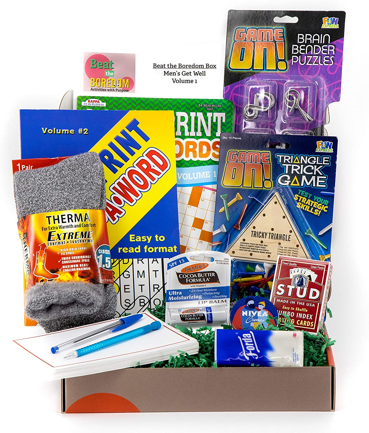 Get Well Soon Gifts for Men Beat the Boredom Box Activities Gift Basket Non Food Tricky Triangle Game Metal Brain Benders Crossword and Word Find Playing Cards Thermal Socks Lip Balm Hand Cream Tissue