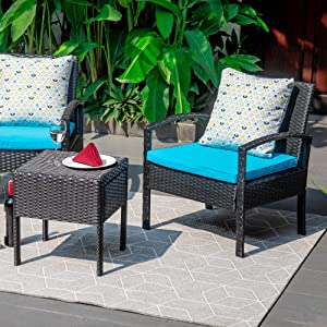 M&W 3 Pieces Patio Furniture Set, Wicker Outdoor Chairs and Coffee Table for Balcony, PE Rattan Bistro Table Set for Lawn, Garden, Backyard, Turquoise (Throw Pillow NOT Included)