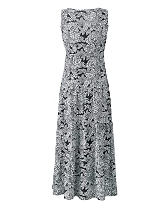detailed images the best low price sale Marisota Black & White Gypsy Cotton Maxi Summer Tunic Dress Plus Size 16 to  32