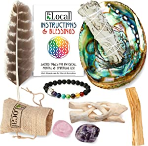 JL Local Chakra Smudging Kit - 10 Items Including White Sage Smudge Sticks, Palo Santo, Amethyst, Rose Quartz, Abalone Shell, Stand & Gift