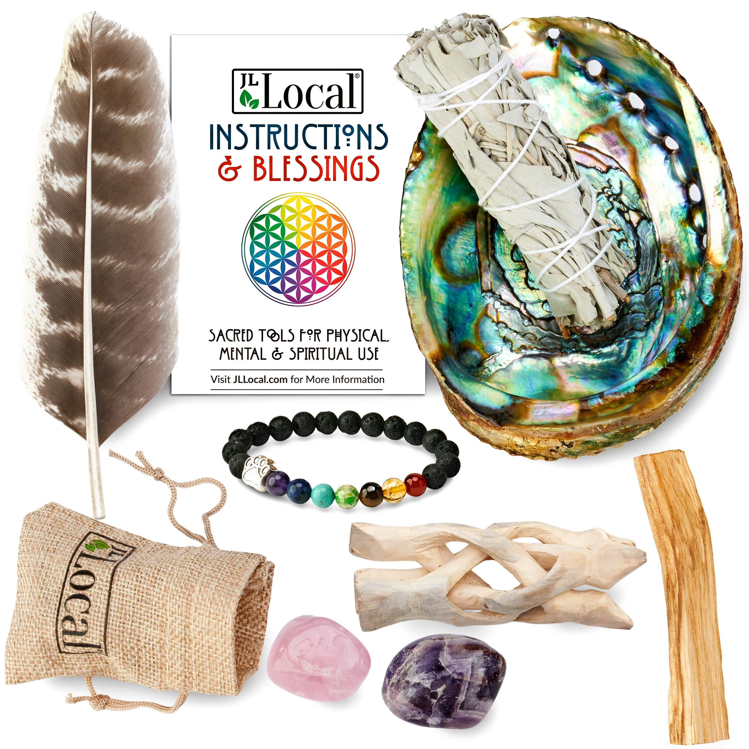 JL Local Chakra Smudging Kit - 10 Items Including White Sage Smudge Sticks, Palo Santo, Amethyst, Rose Quartz, Abalone Shell, Stand & Gift by JL Local