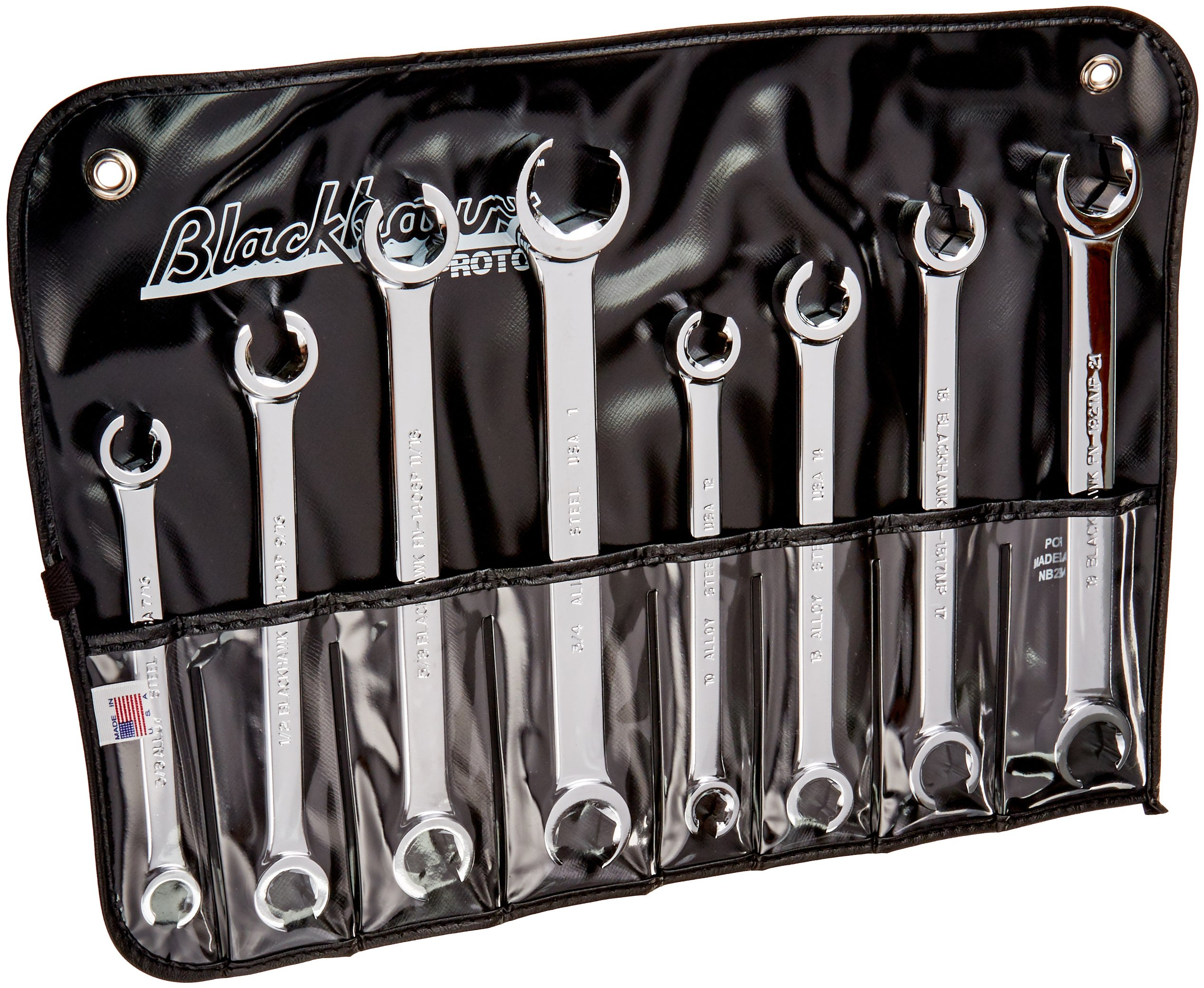Blackhawk By Proto FN-8PTNB 6 Point Fractional and Metric Flare Nut Wrench Set, 8-Piece