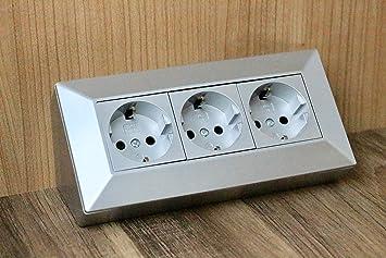 Eck-Steckdose Aufbaumontage 3x Schuko, für Küche, Büro, Werkstatt.  3-Fach-Steckdosenleiste ideal für Küchen-Arbeitsplatte, Aufbausteckdose  oder ...