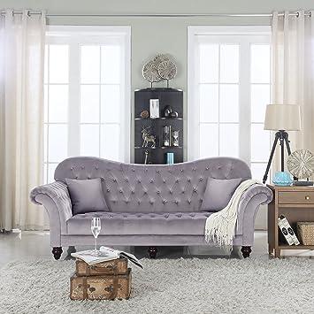 Good Classic Tufted Velvet Victorian Sofa (Dark Grey)
