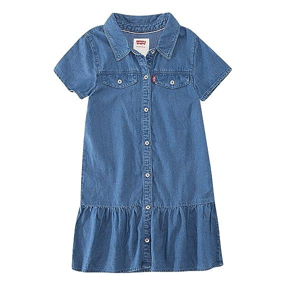 Levi's Girls' Little Short Sleeve Drop Waist Dress, Cobalt Blue, 4