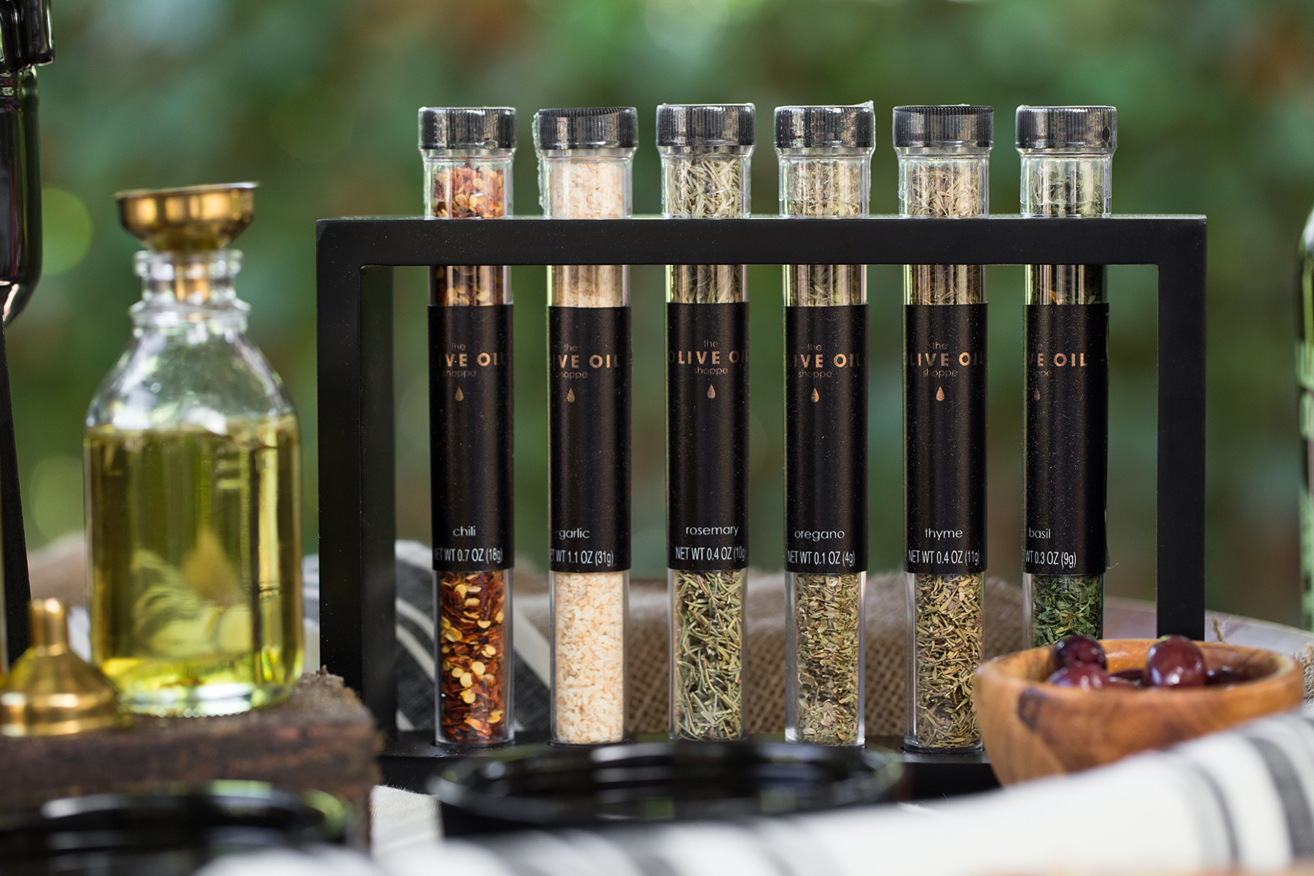 ''The Olive Oil Shoppe'' Olive Oil Fusti Dispenser Kit Gourmet DIY Infused Olive Oils with Dipping Plates, Garlic, Herbs, Spices & Accessories by Thoughtfully