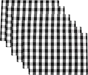 Urban Villa, 100% Cotton Fused Place Mats,14''x 20'' Over Sized,Set of 6,Black/White, Buffalo Check Plaid, Every Day Use,Heavier Quality