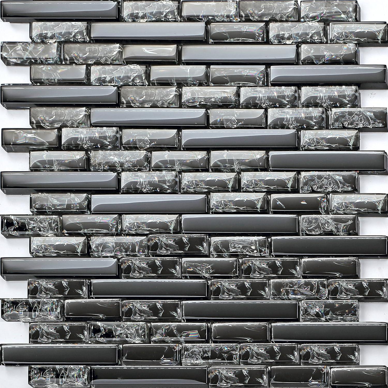 Carrelage mosaïque en verre effet cassé noir et verre transparent effet Chrush (MT0074) GTDE