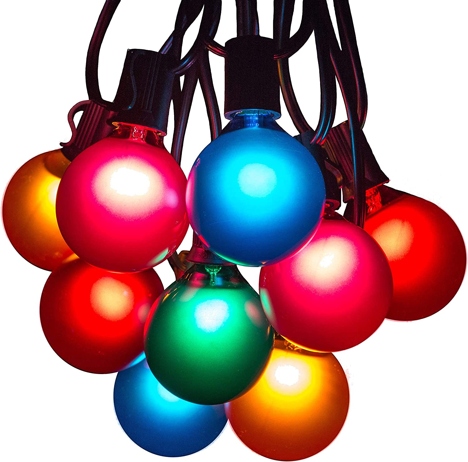 50 Foot Outdoor Colored String Lights - G50 Assorted Satin Pearl 2 Inch Globe Bulbs - Black Wire (+ 2 Free Spares) for Patio Backyard Deck Tree and Party Lighting