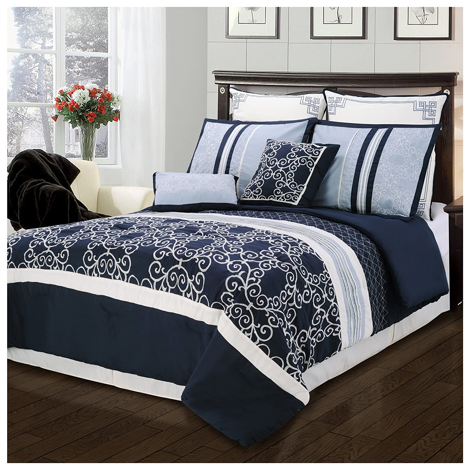 Superior Clarissa 8 Piece Embroidered and Pin-Tucked Comforter Set California King Blue CLARISSA 8PC CKBL