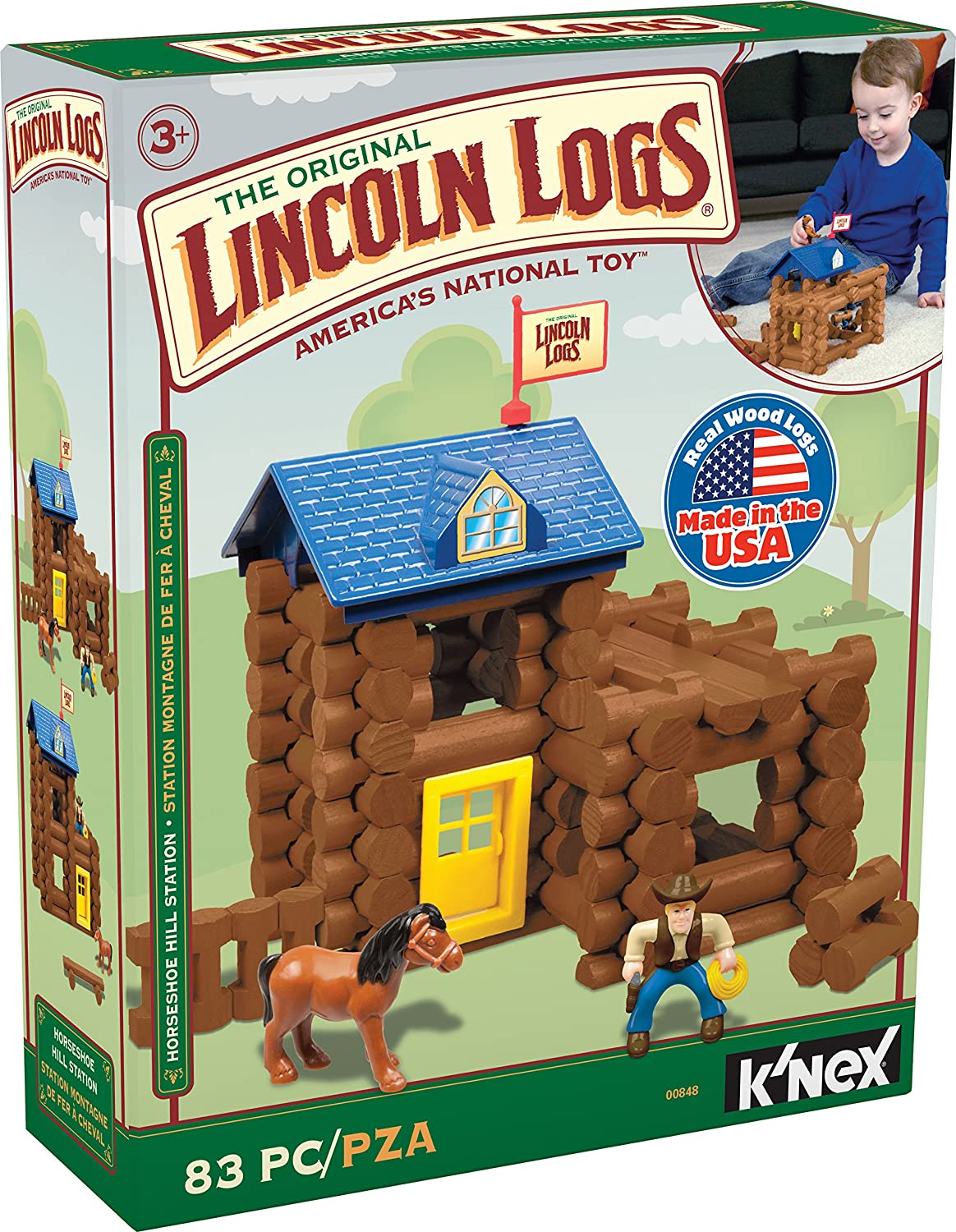 LINCOLN LOGS – Horseshoe Hill Station – 83 Pieces – Ages 3+ Preschool Education Toy K'NEX 848
