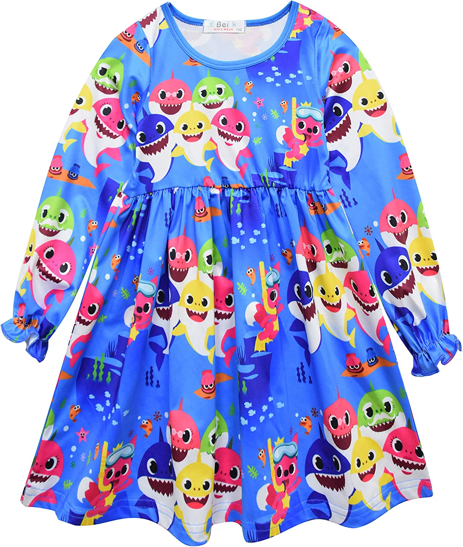 Heariao Cute Princess Cartoon Shark Dress for Girls Birthday Party Dresses 2-8 T