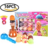 Children's Balance Game Set Colorful Ice Cream Cone Tower With Scooper Plastic Fun Little Toys Kitchen Dessert Package For Birthday Party - 12 Scoop Flavors