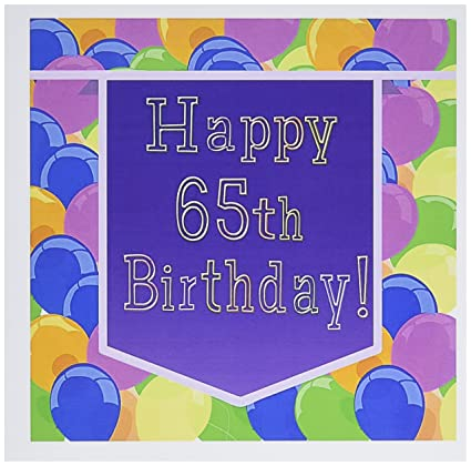 3dRose Balloons With Purple Banner Happy 65th Birthday Greeting Cards 6quot X