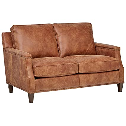 Surprising Stone Beam Marin Leather Studded Loveseat 60W Saddle Brown Machost Co Dining Chair Design Ideas Machostcouk