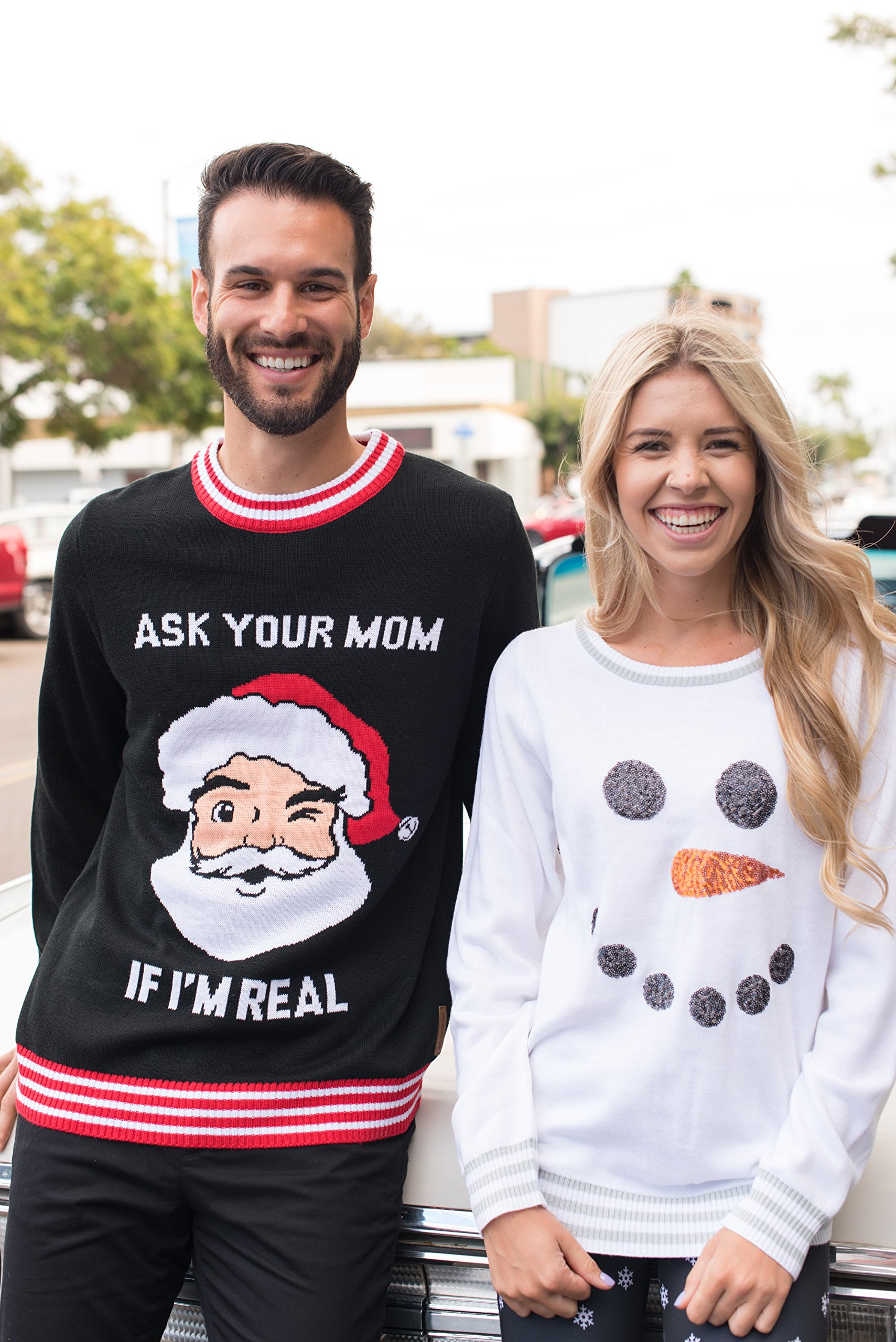 Mens Ask Your Mom If Im Real Ugly Christmas Sweater Funny Santa