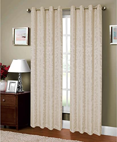 Window Elements Alpine Textured Woven Leaf Jacquard Grommet 108 x 84 in. Curtain Panel Pair