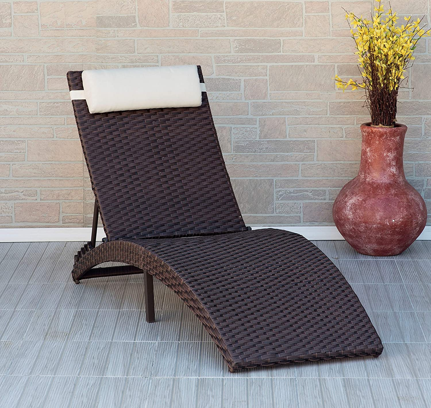 Atlantic Folding Rome 1-Piece Patio Lounger with Cushion Wicker, Ideal for Outdoors and Poolside : Garden & Outdoor