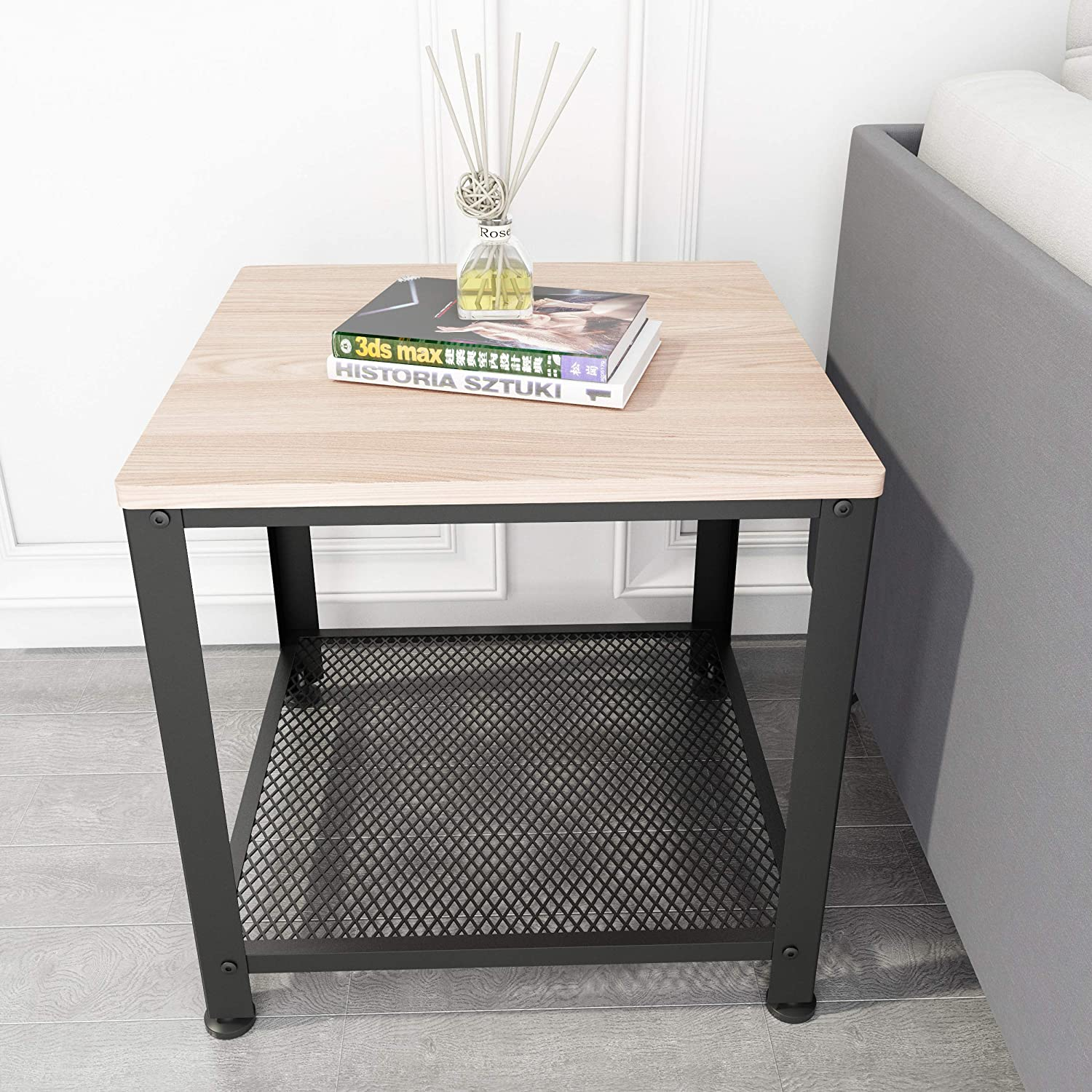 SIMPDIY Industrial End Table,Side Table, Square Coffee Table for Small Spaces, Bedroom, Living Room, Dorm, Office (White Oak Finish)
