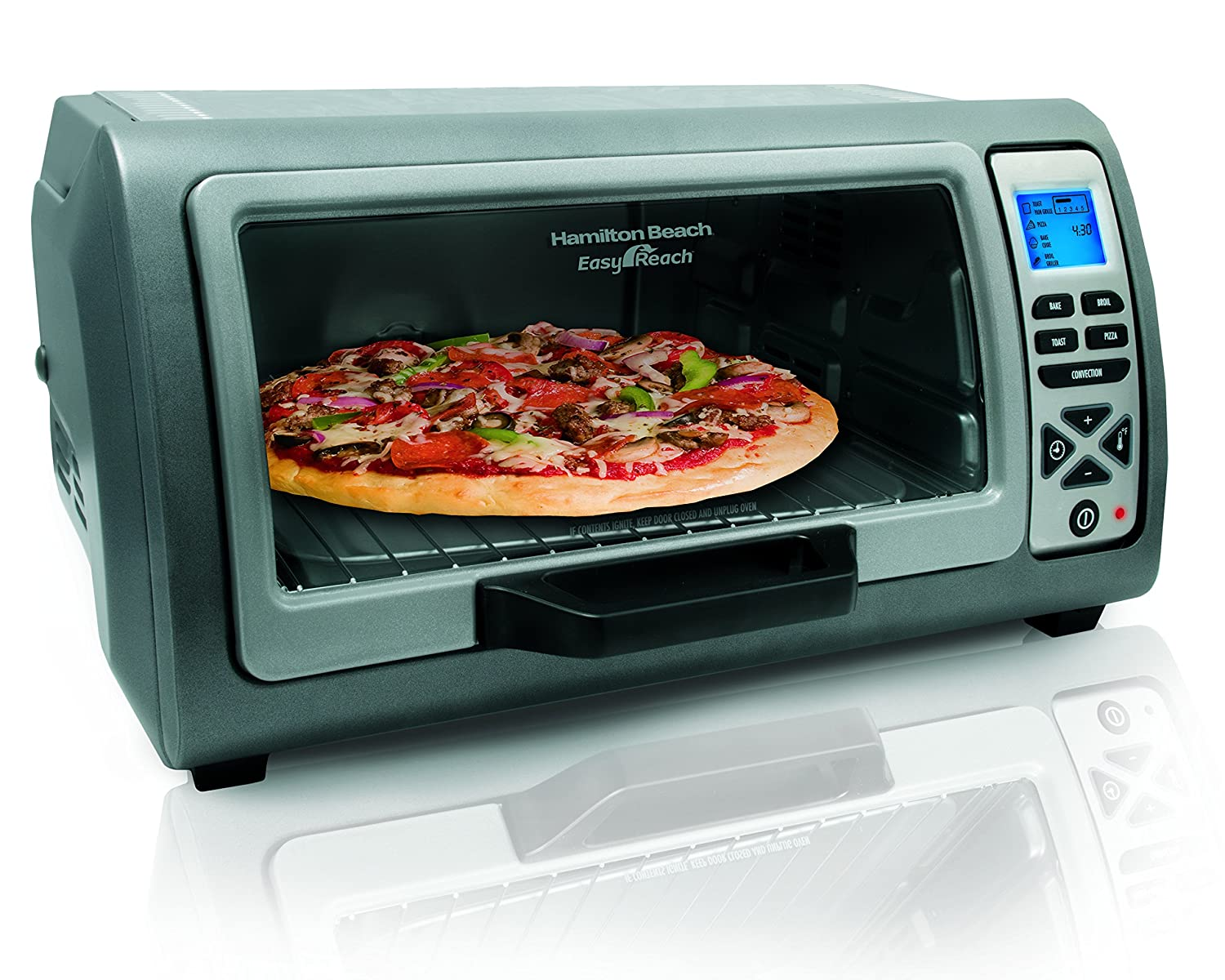 Hamilton Beach 31128 Easy Reach Toaster Oven with Roll-Top Door Stainless Steel