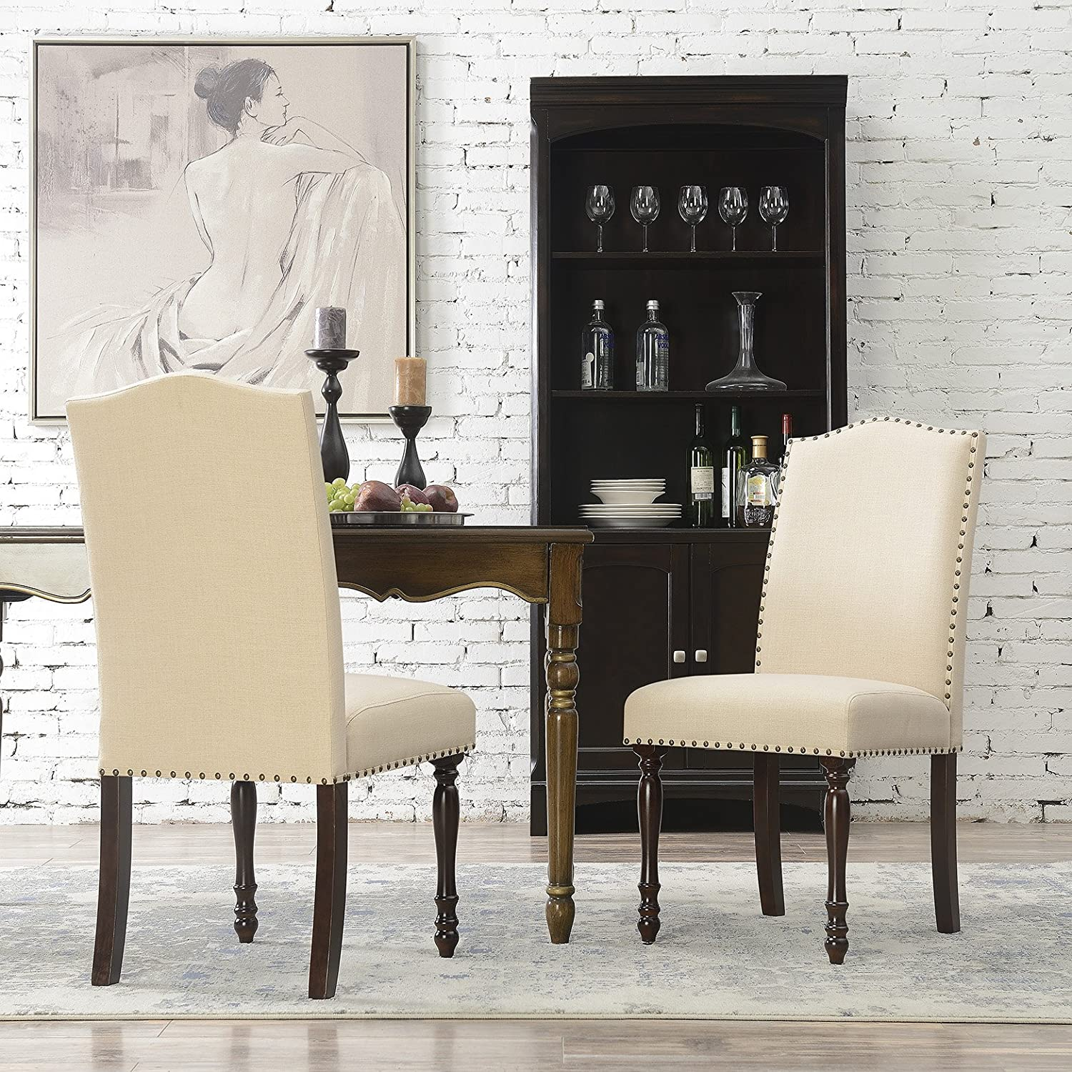 Belleze Upholstered Accent Dining Chair Classic Parsons Linen Cushion Fabric Nail Head with Wooden Leg Set of 2 , Beige