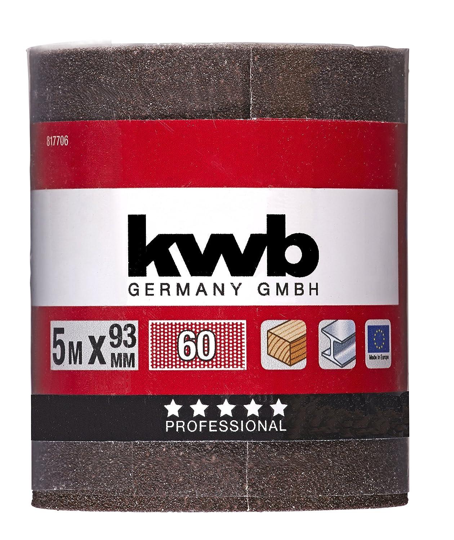 pour m/étal et bois, 93 mm x 5 m 8177-24 KWB Rouleau de papier abrasif corindon