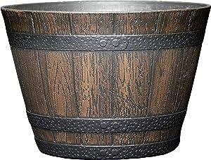 "Classic Home and Garden S74D-037R 9"" Whiskey Barrel, 9"", Kentucky Walnut"