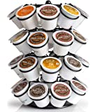 New French Design K-Cup Holder/Keurig Coffee Pod Carousel | 360° Rotation | Holds 36 Cups | Durable Carbon Steel | Antique Black