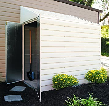 Review Arrow Yardsaver Pent Roof Steel Storage Shed, Eggshell, 4 x 7 ft.