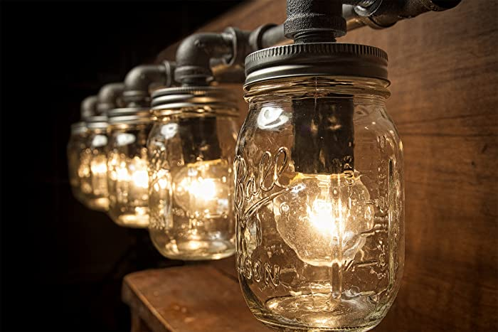 steampunk lighting. contemporary lighting 5 mason jar lights  pipe light vanity edison rustic to steampunk lighting