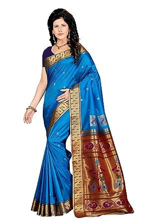 navy border art rani saahiba womens art silk zari border paithani style saree